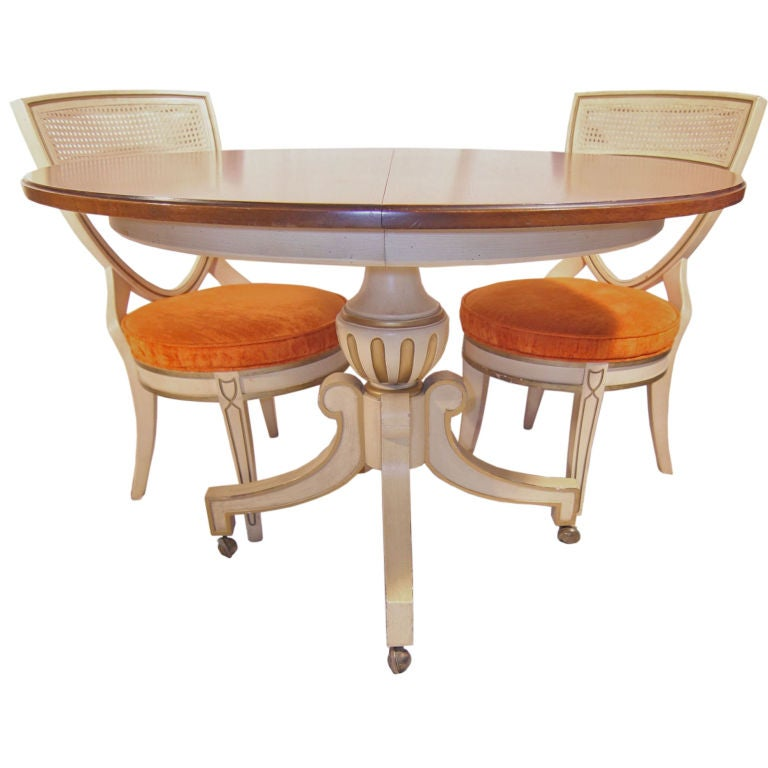 Dorothy draper dining room table w leaf four chairs at for 3 leaf dining room tables