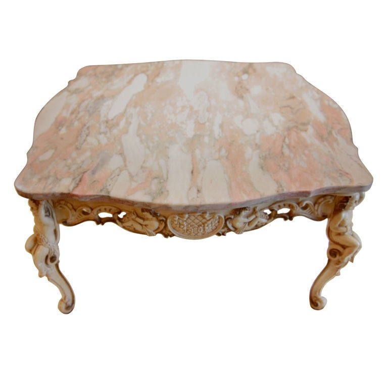 Italian Fancy Cherub Carved Base Pink Gray Marble Top Coffee Table At 1stdibs
