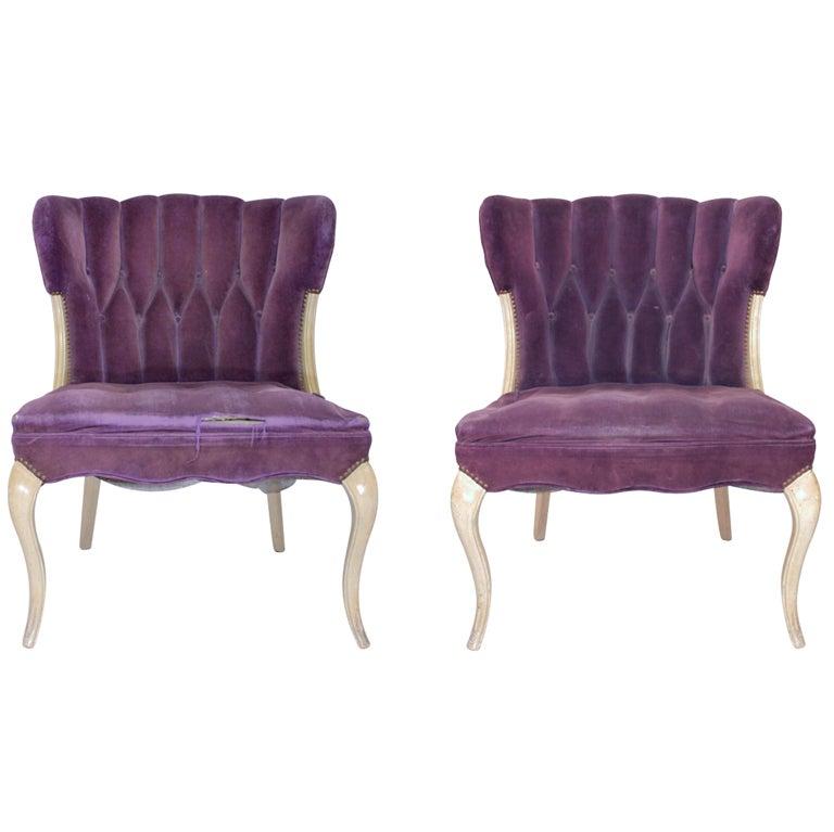 Hollywood Regency Purple Velvet Tufted Faded Worn Vogue