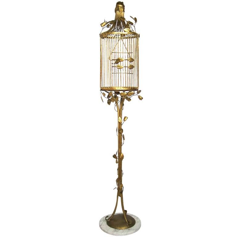 Vintage Italian Gilt Birdcage With Marble Base Hollywood