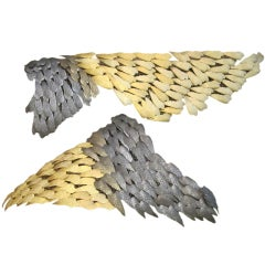 Parisian Gold & Pewter Hairclips Bird Wings Wall Sculpture