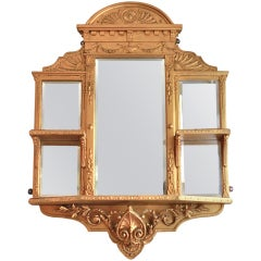 Victorian Ornate  Gilded Gold Mirror  Wall Display Shelve