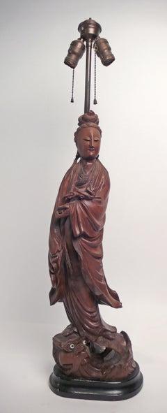 Hand-carved Teak Asian Lamp