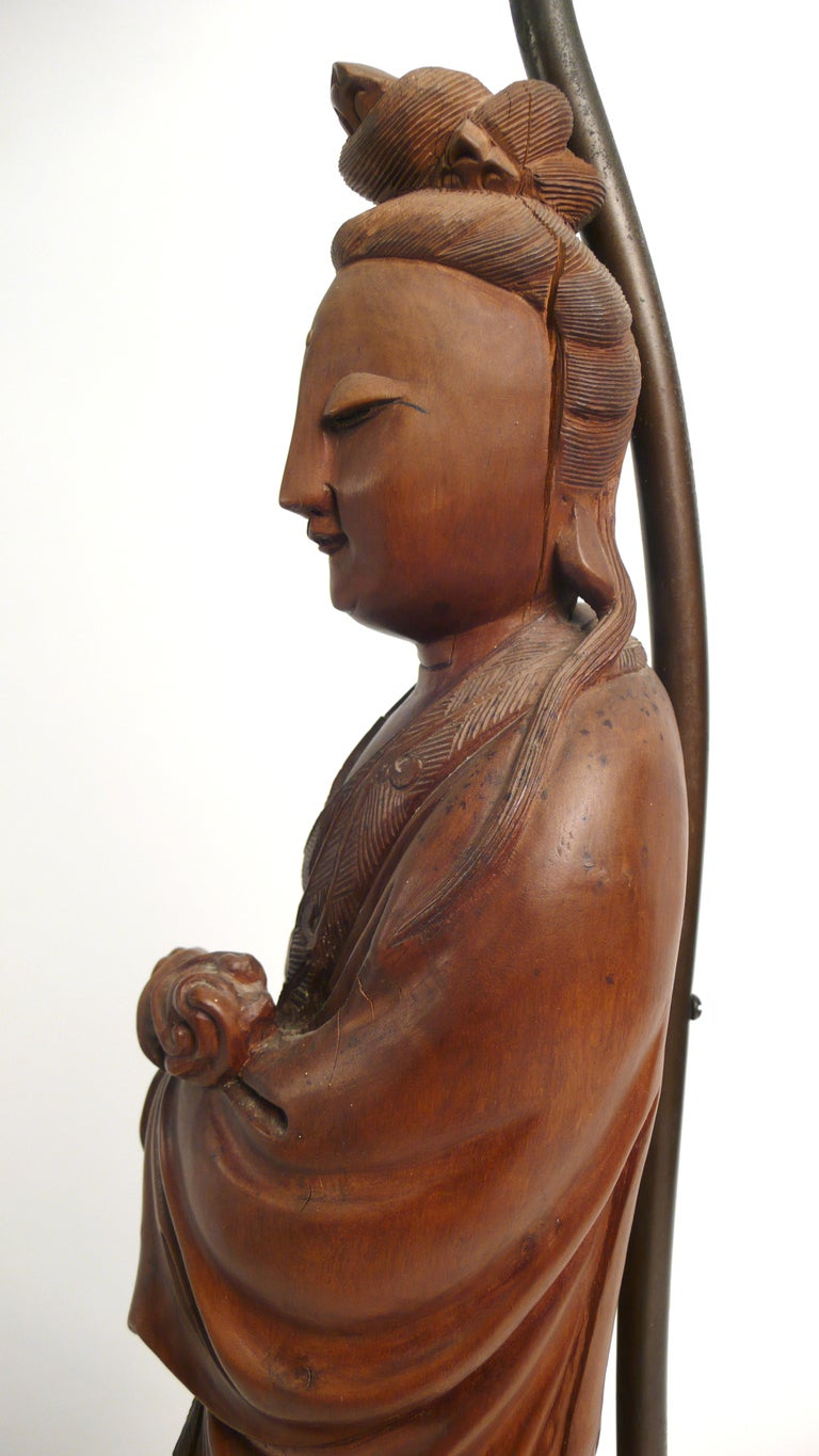 Hand-carved Teak Asian Lamp 4