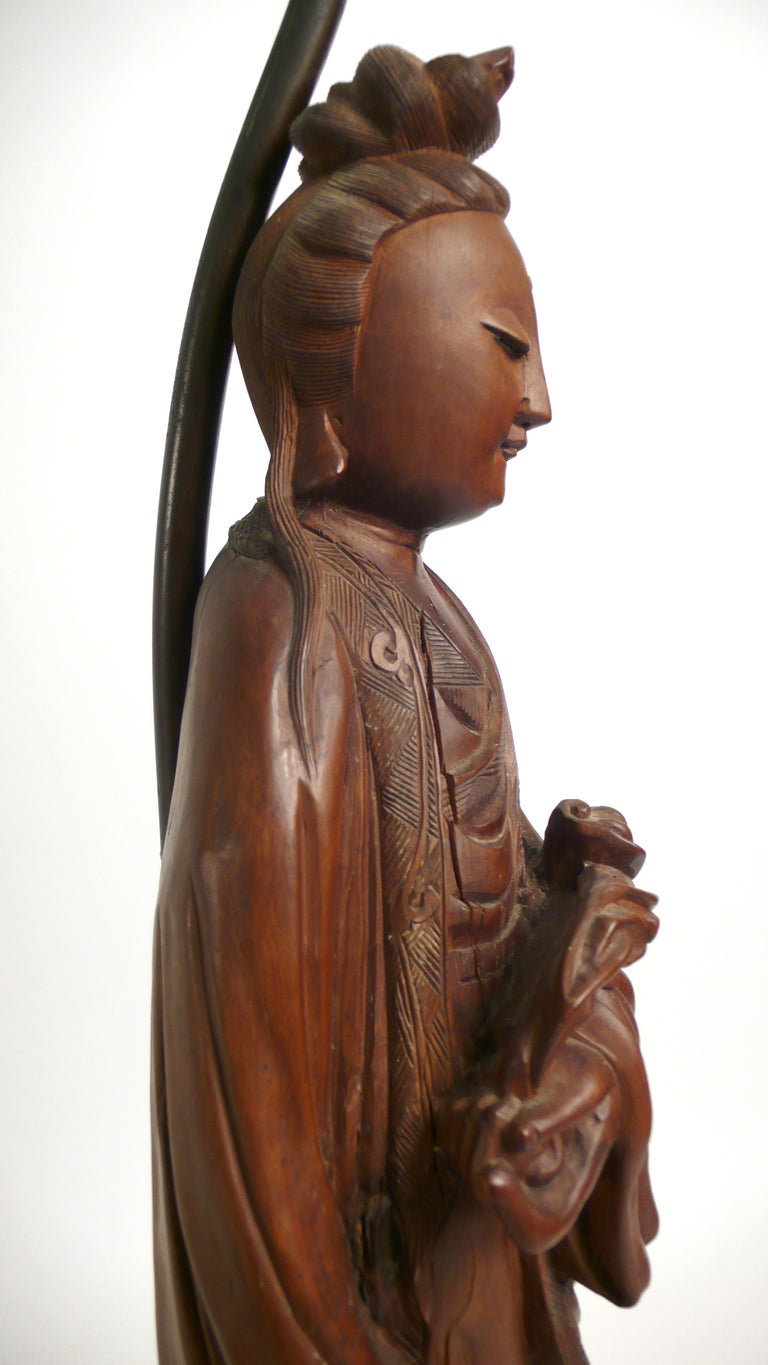 Hand-carved Teak Asian Lamp 6