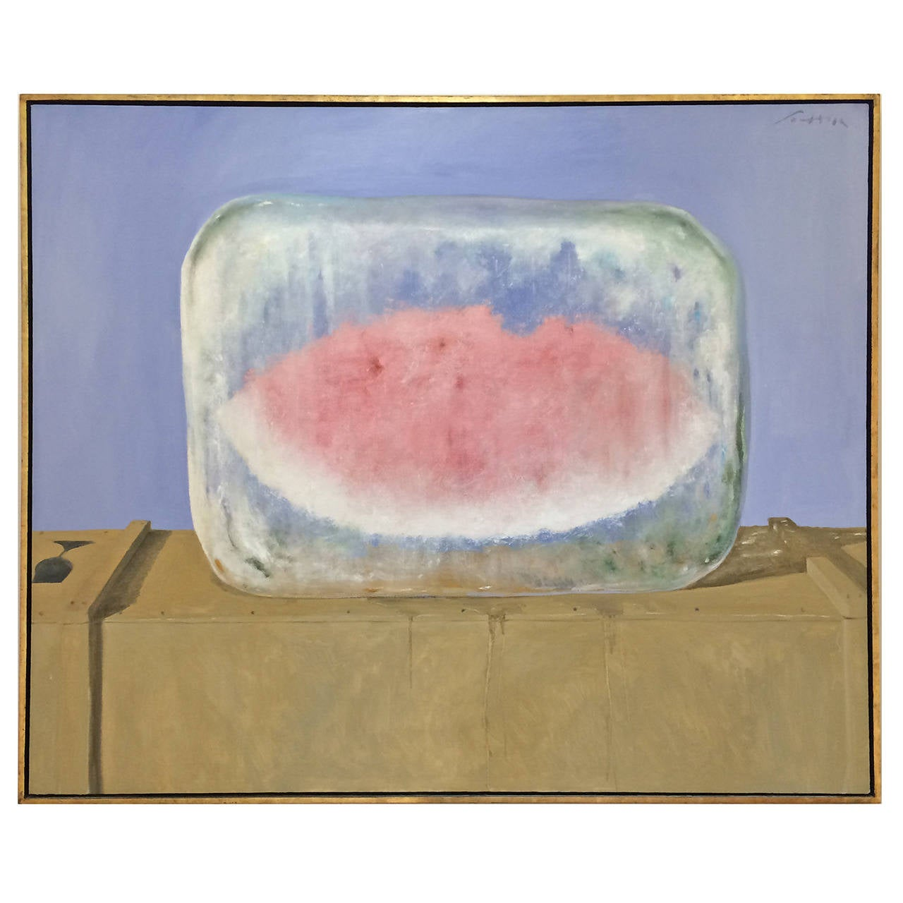 """Watermelon on Ice"" Oil Painting on Canvas by Julio Larraz For Sale"