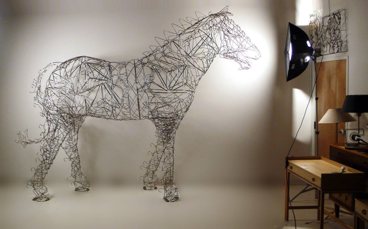 Post-Modern Massive Horse Sculpture Crafted From 1000 Chrome Coat Hangers for Barneys NY For Sale