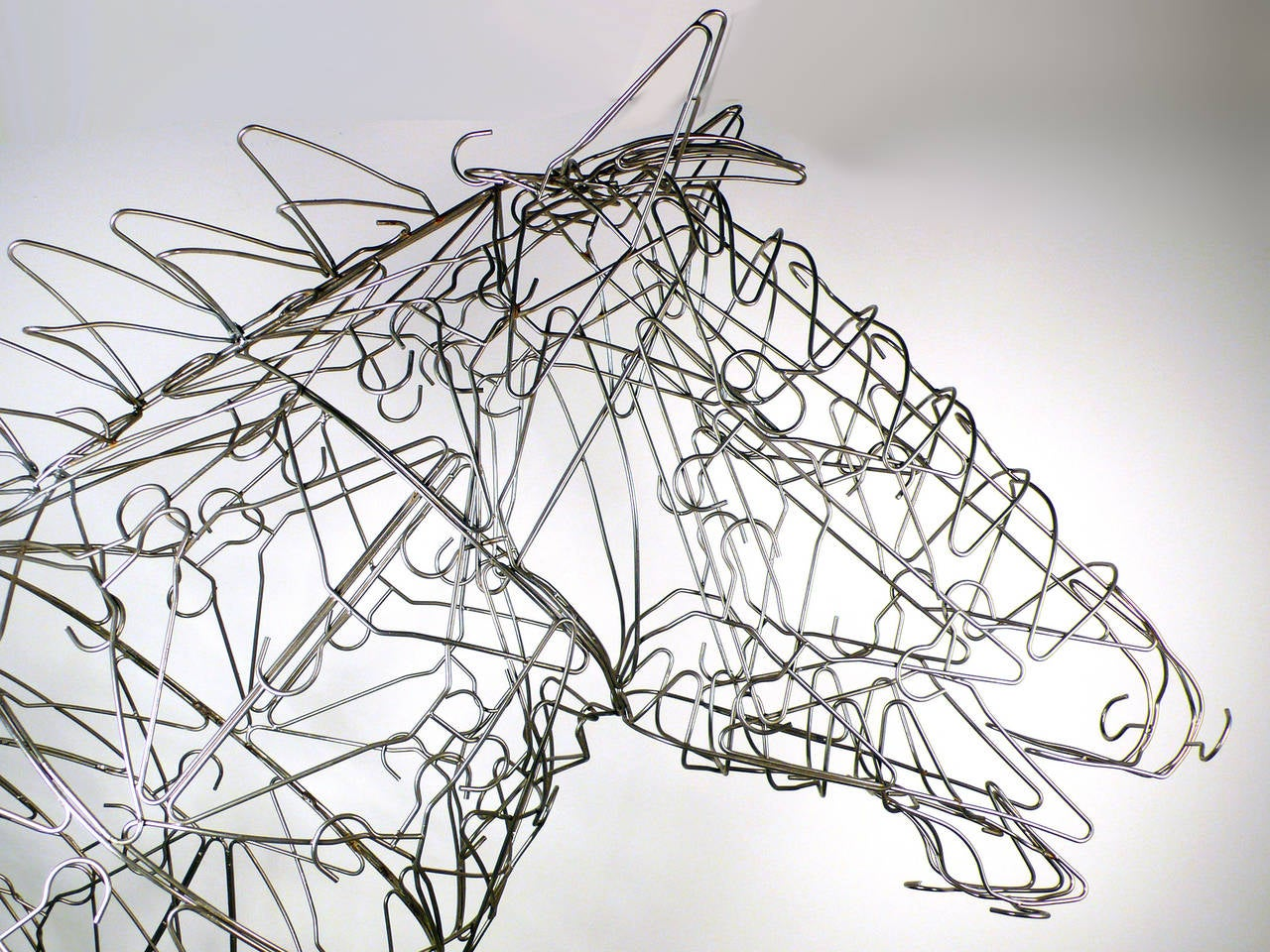 Contemporary Massive Horse Sculpture Crafted From 1000 Chrome Coat Hangers for Barneys NY For Sale