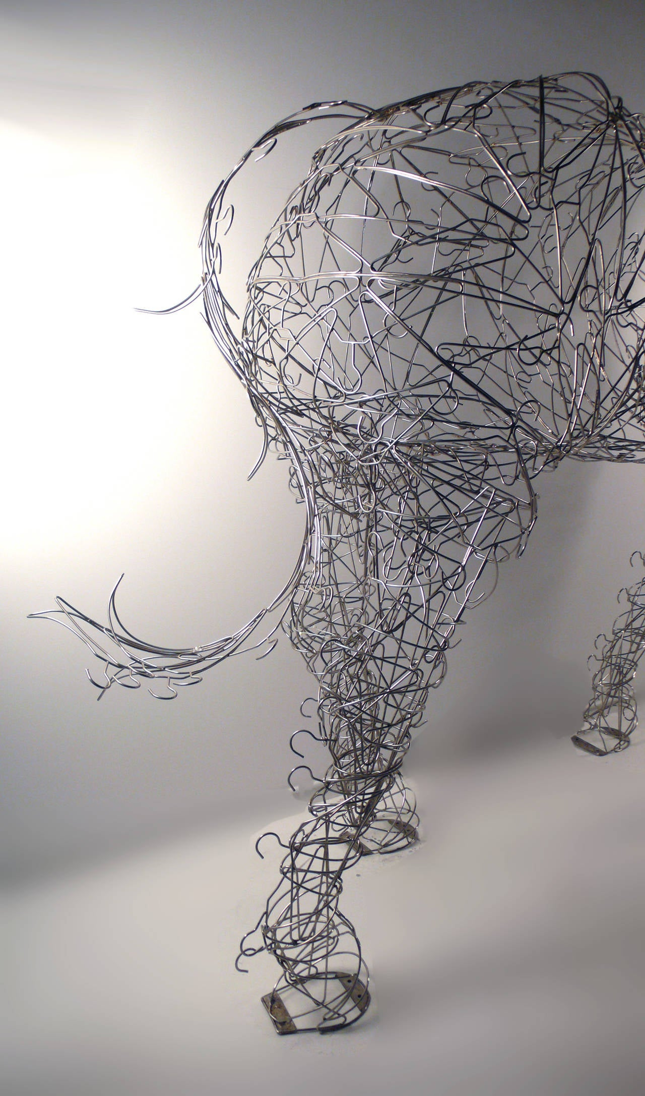 Steel Massive Horse Sculpture Crafted From 1000 Chrome Coat Hangers for Barneys NY For Sale
