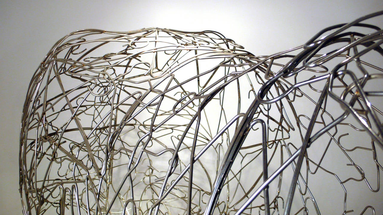 Massive Horse Sculpture Crafted From 1000 Chrome Coat Hangers for Barneys NY For Sale 1