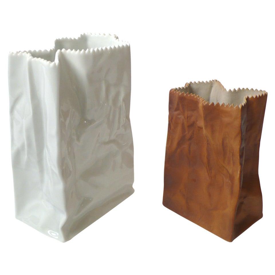 Tapio Wirkkala Porcelain Paper Bag Vases