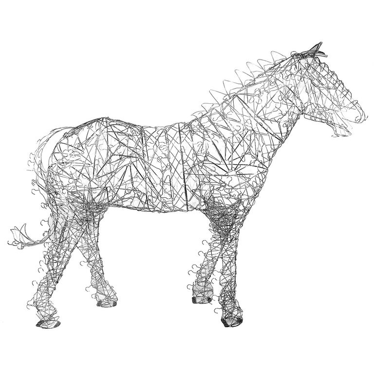 Massive Horse Sculpture Crafted From 1000 Chrome Coat Hangers for Barneys NY For Sale