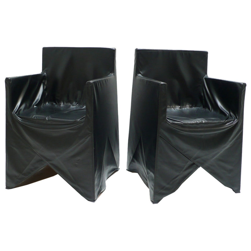 Pair of Black Leather Chairs - Italy