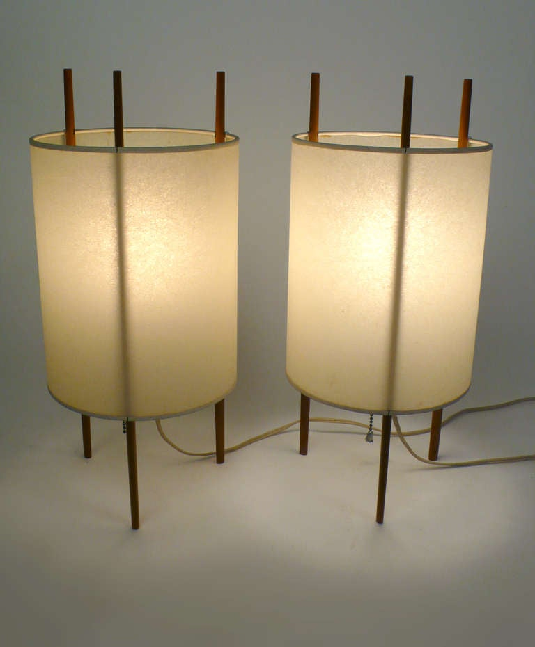 pair of cylinder lamps by isamu noguchi at 1stdibs. Black Bedroom Furniture Sets. Home Design Ideas