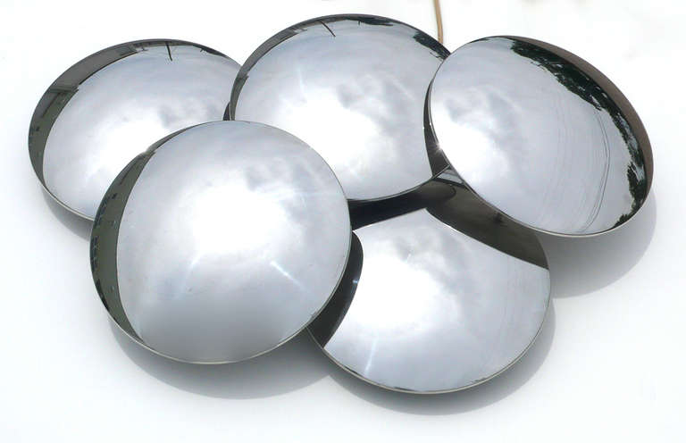 Italian Convex Mirrored Sconce by Reggiani For Sale
