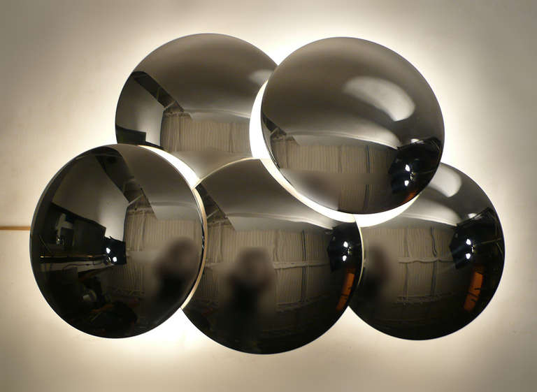 Stainless Steel Convex Mirrored Sconce by Reggiani For Sale