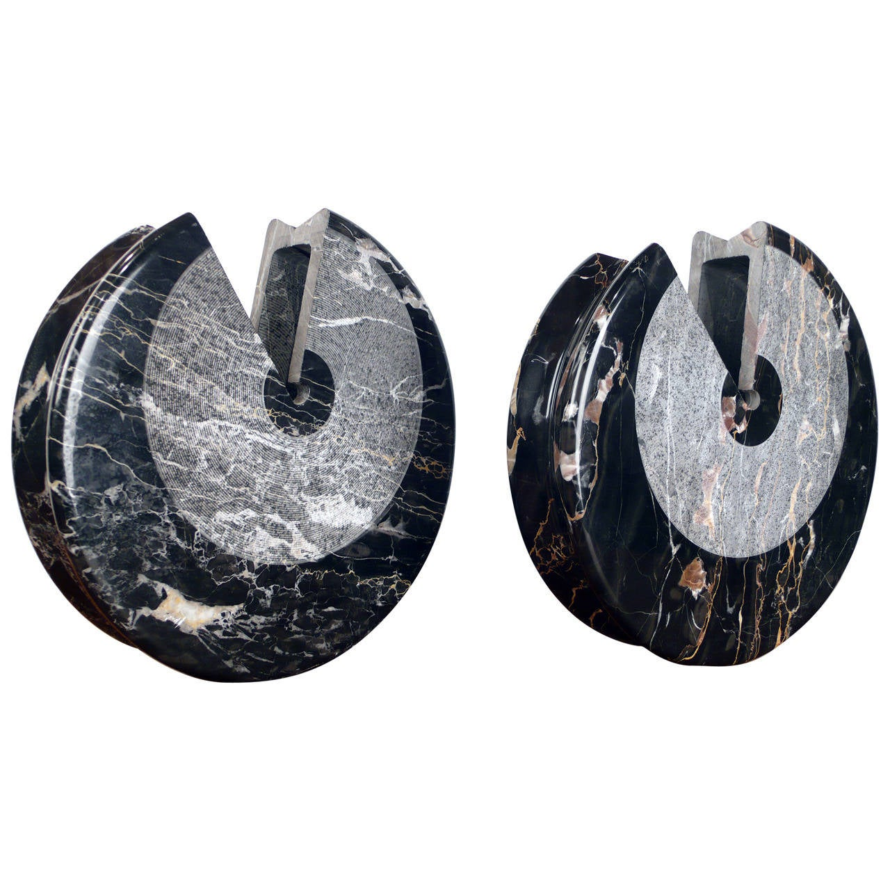 Pair of Marble Vases by Sergio Asti