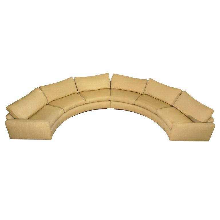 Monumental milo baughman semi circular sectional sofa for Sectional sofas circle furniture