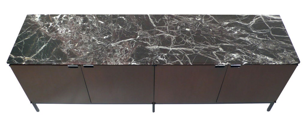 Mid-20th Century Florence Knoll Italian Marble Credenza mahogany 1960s For Sale