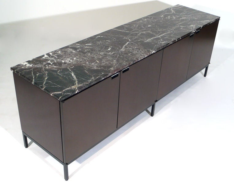 Florence Knoll Italian Marble Credenza mahogany 1960s For Sale 1