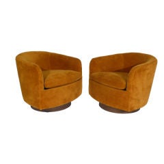 Pair of Tilting and Rocking Milo Baughman Barrel Chairs