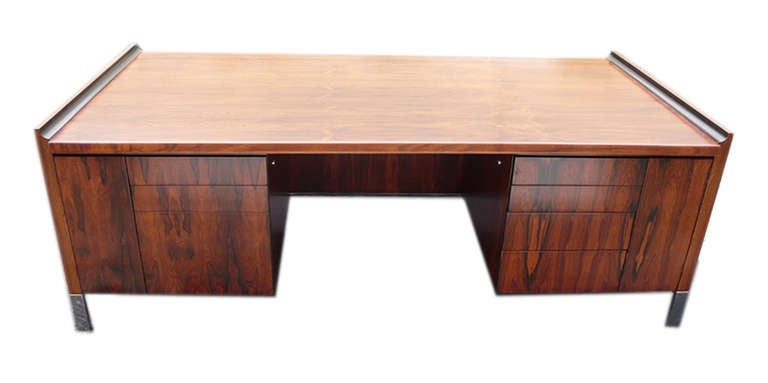 Ultra Modern Brazilian Rosewood Executive Desk Manufactured By The U0027DoMoreu0027  Company In The Early