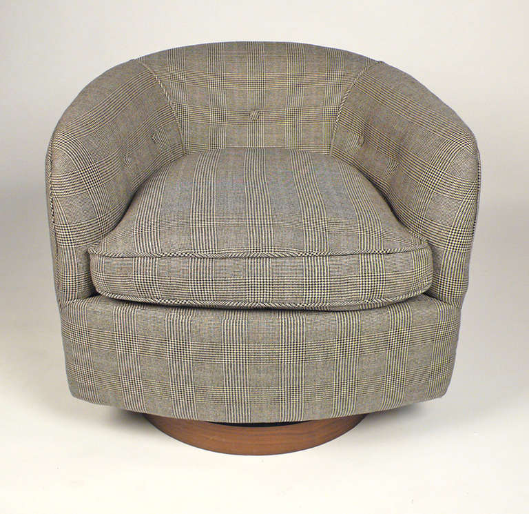 Milo baughman barrel chair in prince of whales textile at 1stdibs