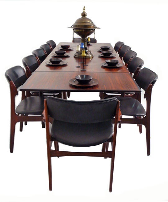 danish modern rosewood dining table and chairs seats 12 at 1stdibs
