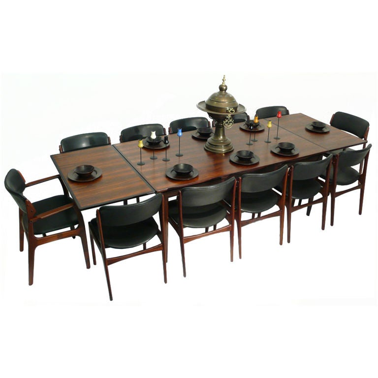 Danish modern rosewood dining table and chairs seats 12 at for 12 seat dining table and chairs