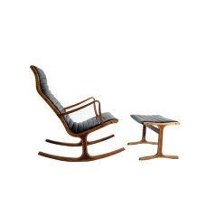 Heron Rocking Chair & Ottoman by Mitsumasa Sigasawa