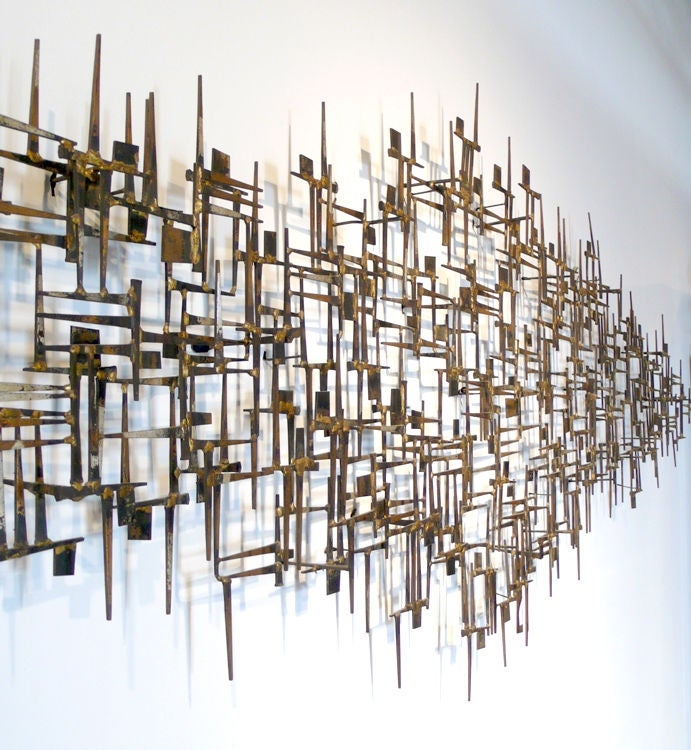 Monumental 1960s Brutalist Abstract Gold And Silver Leafed