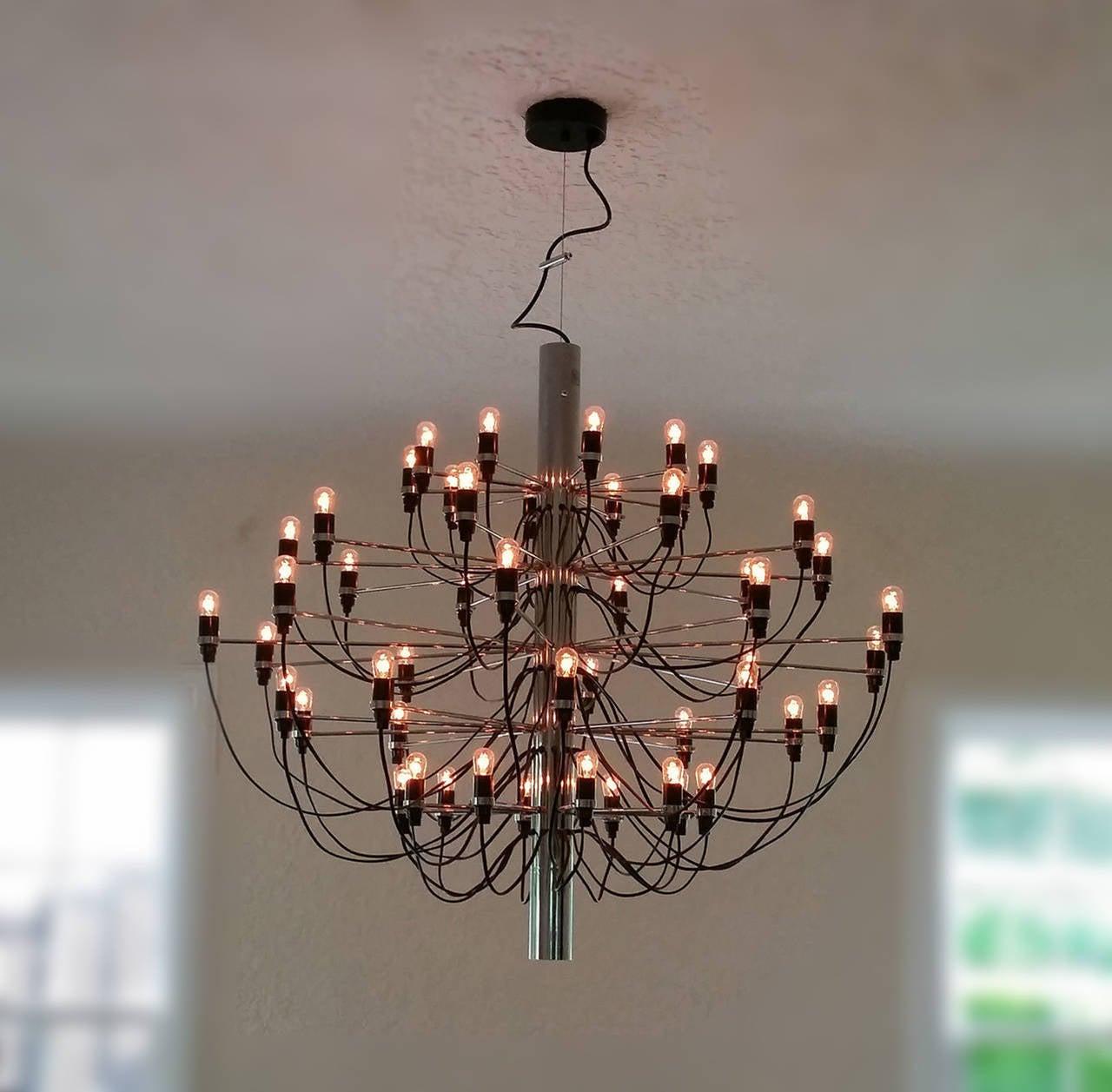 50 bulb gino sarfatti chandelier for sale at 1stdibs for Gino sarfatti flos