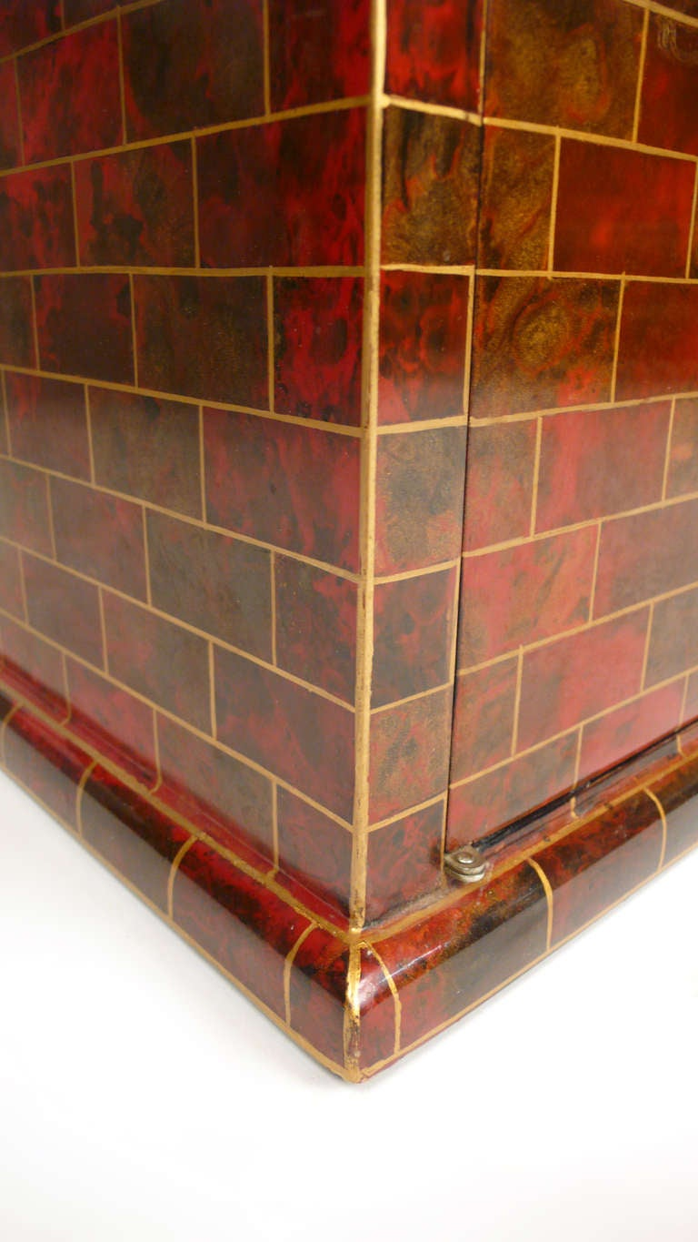 Brass Beautiful Hand Painted Small Chest by Maitland Smith For Sale