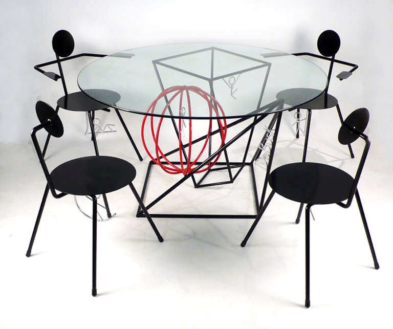Table And Four Chairs By Internationally Renowned Sculptor
