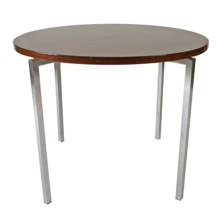 Florence Knoll Side Table walnut satin nickel 1950s