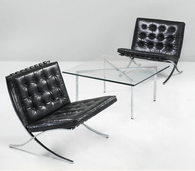 Someone heavily involved in the Mies catalogue raisonne project has personally confirmed that these chairs are in fact authentic Barcelona chairs manufactured by the German Company, Waldemar Stiegler, which produced the flat-steel furniture for