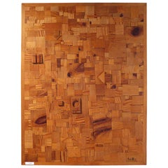 Japanese Modernist Wood Collage by Aoki 1973