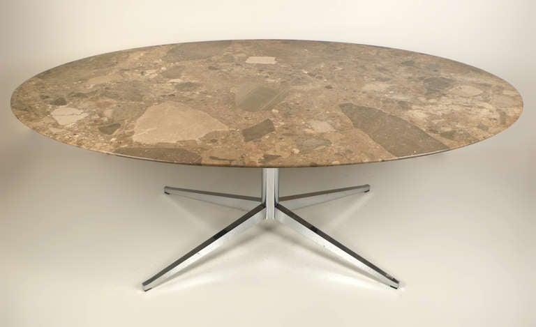 Knoll Oval Emperador Marble Table Desk 3