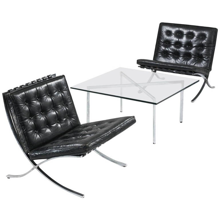 Museum Quality Ludwig Mies van der Rohe Barcelona Chairs with Table For Sale