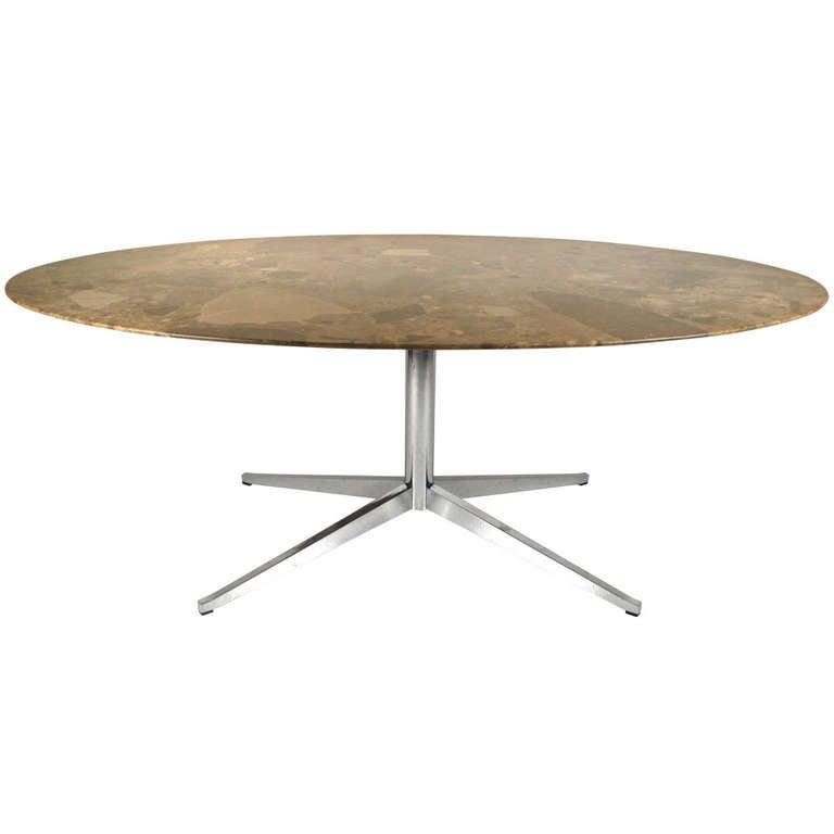 Knoll Oval Emperador Marble Table Desk at 1stdibs