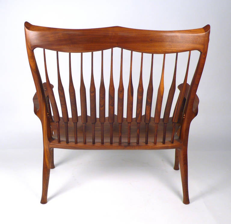 Walnut Dave Hentzel Hand Crafted Settee For Sale