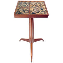 Dunbar Sculpted Mahogany & Murano Glass Cigarette Table