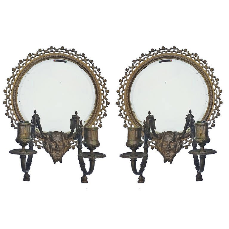 Pair of Antique Gothic Mythological Tiffany and Co. Bronze Beveled Mirrors