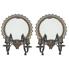 Pair of Antique Gothic Mythological Tiffany and Co. Bronze Beveled Mirrors
