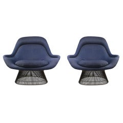 Pair of High Back Lounge Chairs in Bronze by Warren Platner