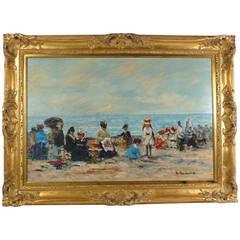 French Impressionist Beach Scene Painting by J. Deveau