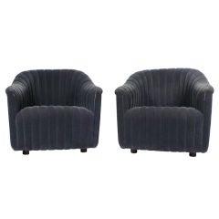 Ward Bennett Rib Tufted Club Chairs