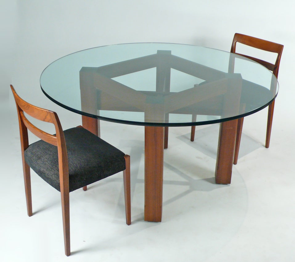 Custom glass top dining table for sale at 1stdibs for Glass dining table