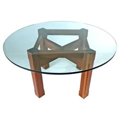 Custom Glass Top Dining Table with Brazilian wood base