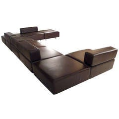 Harvey Probber Chocolate Brown Leather 'Cubo' Sectional Sofa